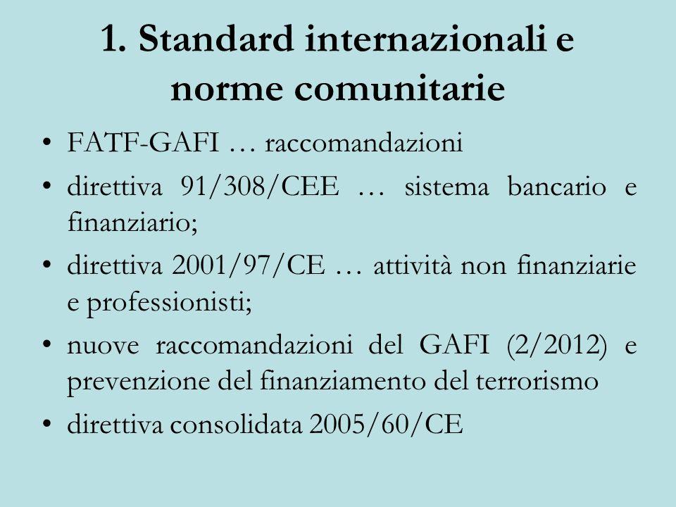 1. Standard internazionali e norme comunitarie
