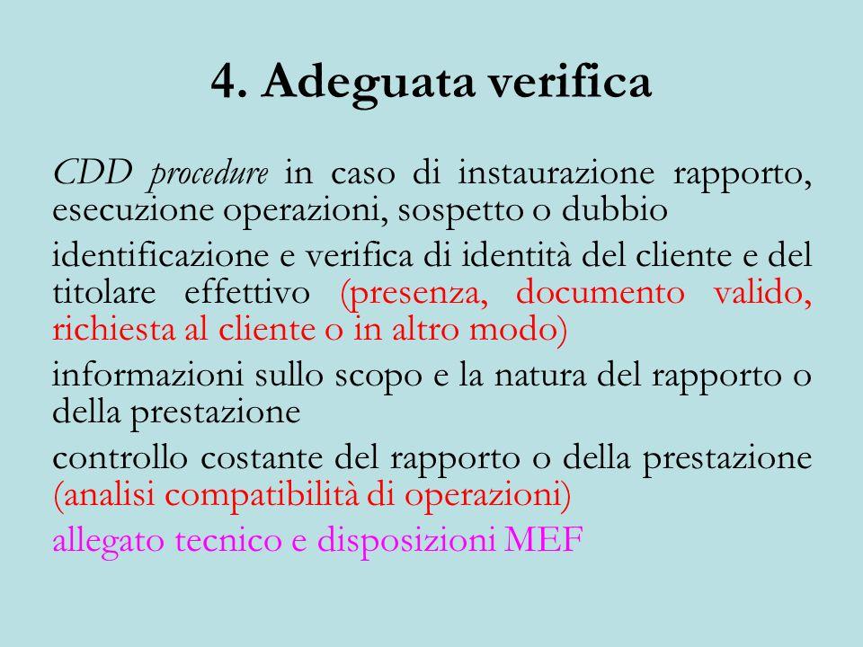 4. Adeguata verifica CDD procedure in caso di instaurazione rapporto, esecuzione operazioni, sospetto o dubbio.