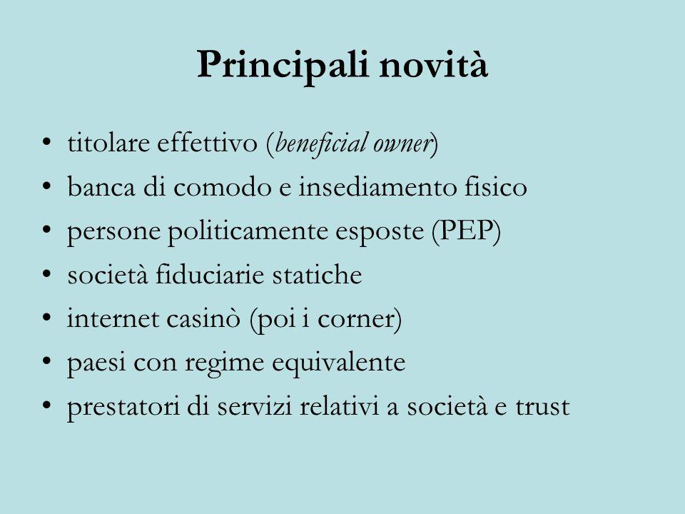 Principali novità titolare effettivo (beneficial owner)
