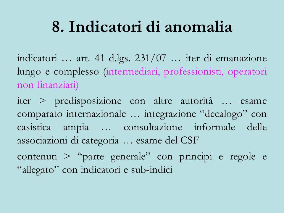 8. Indicatori di anomalia