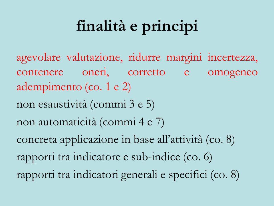 finalità e principi agevolare valutazione, ridurre margini incertezza, contenere oneri, corretto e omogeneo adempimento (co. 1 e 2)