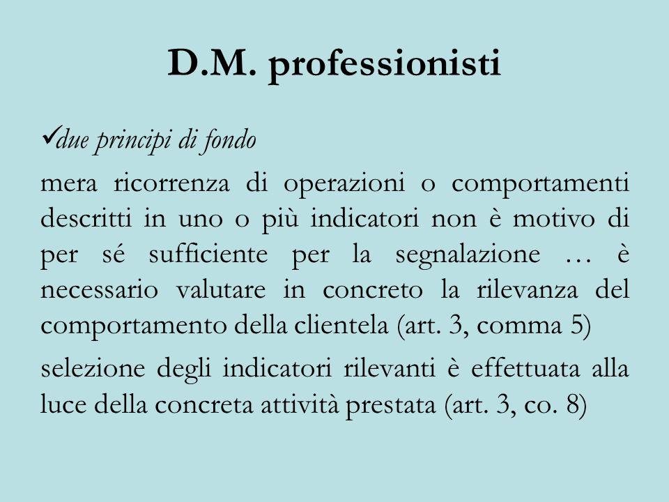 D.M. professionisti due principi di fondo