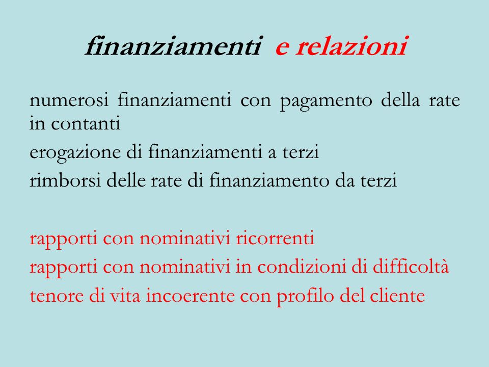 finanziamenti e relazioni