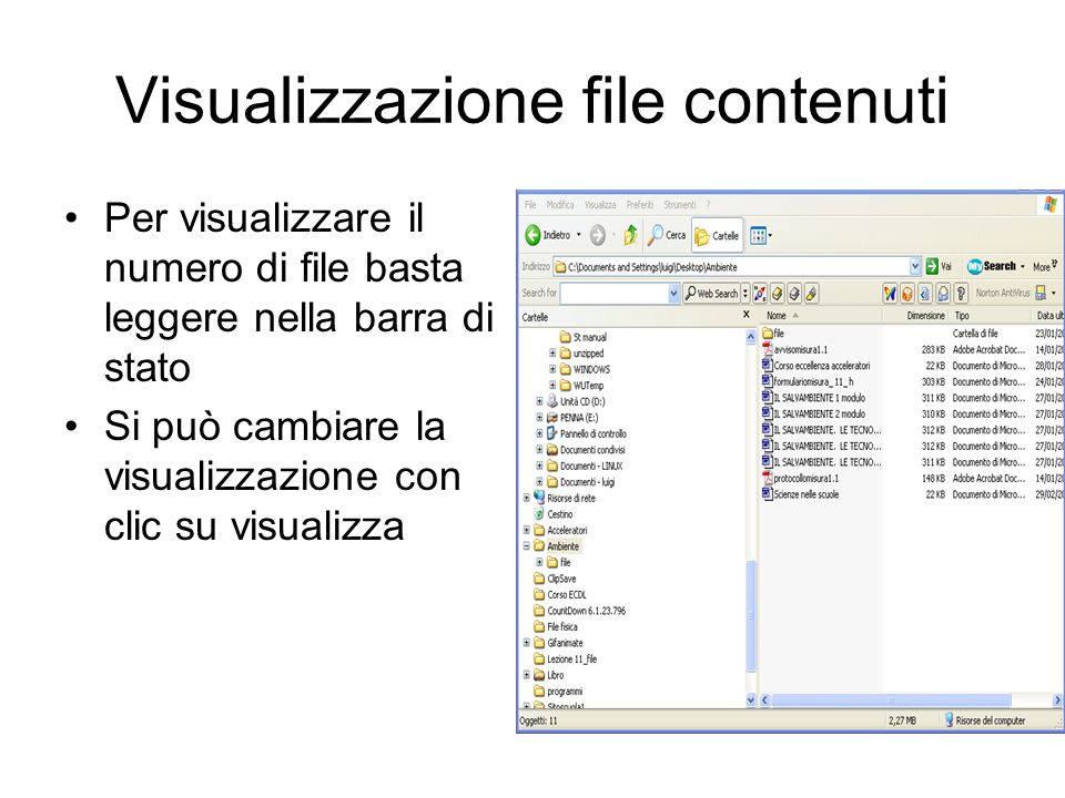 Visualizzazione file contenuti