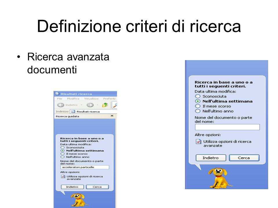Definizione criteri di ricerca
