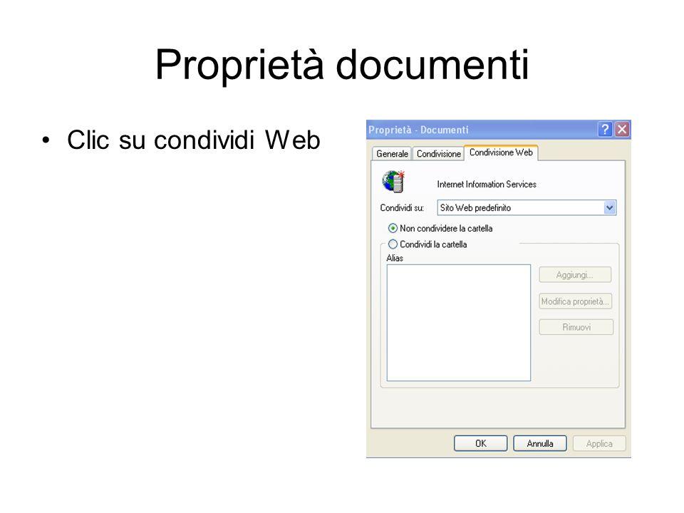 Proprietà documenti Clic su condividi Web