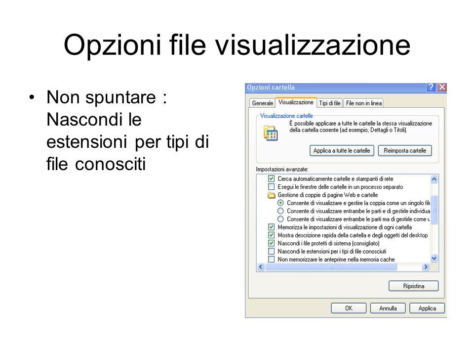 Opzioni file visualizzazione