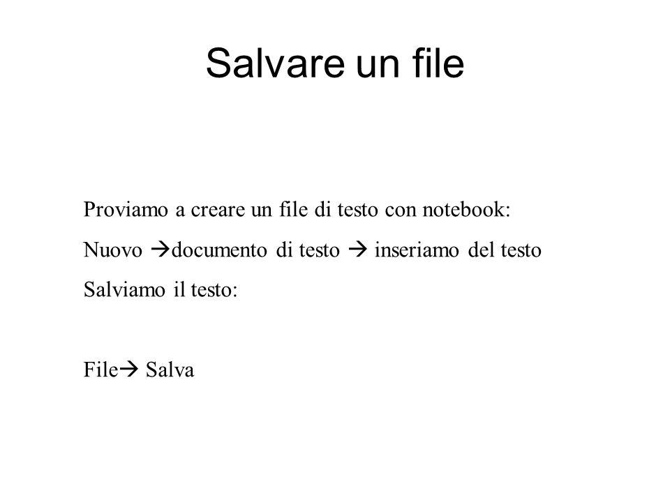 Salvare un file Proviamo a creare un file di testo con notebook: