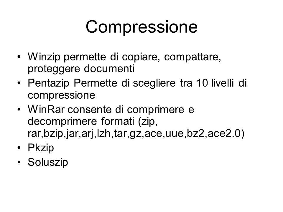 Compressione Winzip permette di copiare, compattare, proteggere documenti. Pentazip Permette di scegliere tra 10 livelli di compressione.