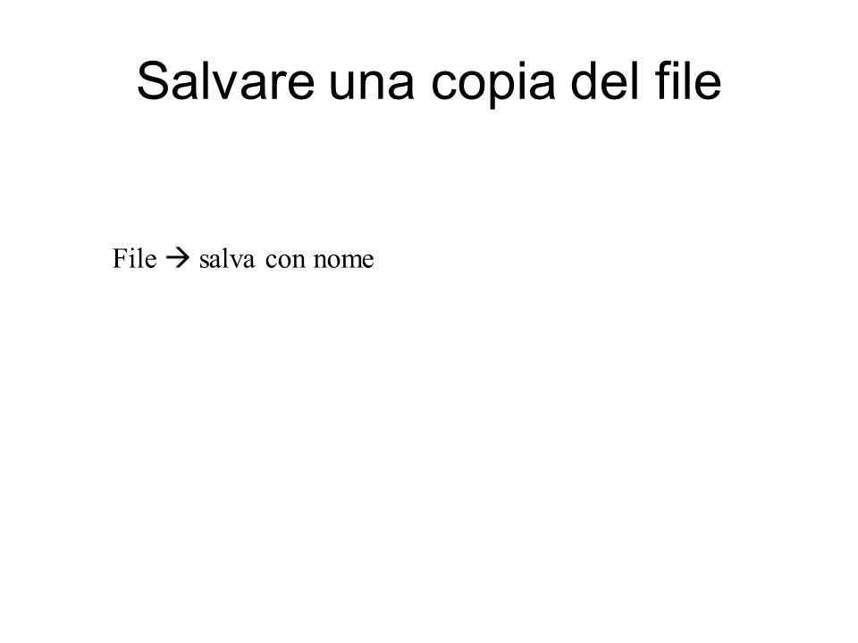 Salvare una copia del file