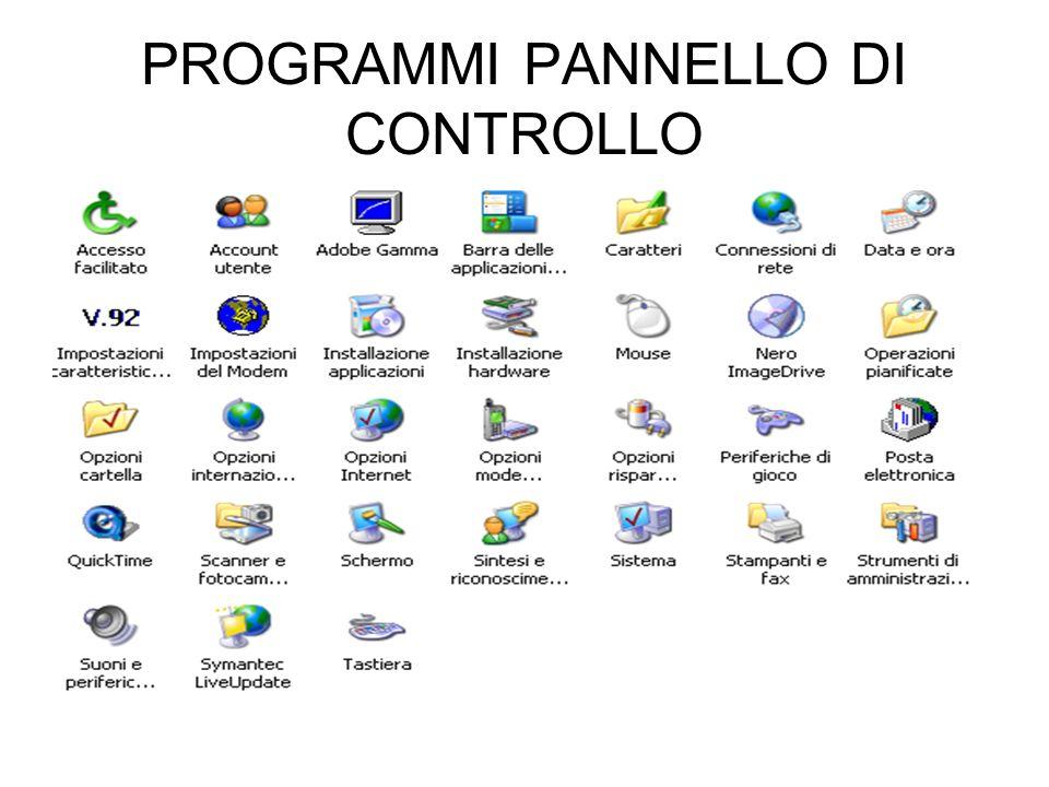 PROGRAMMI PANNELLO DI CONTROLLO