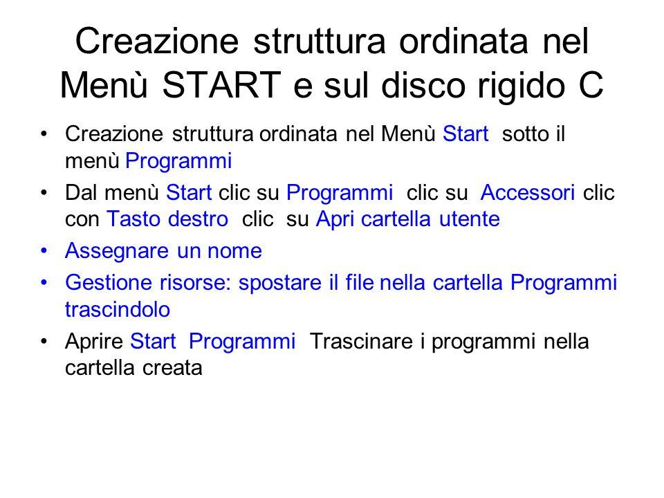 Creazione struttura ordinata nel Menù START e sul disco rigido C