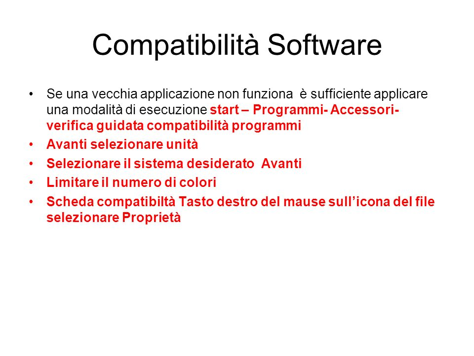 Compatibilità Software