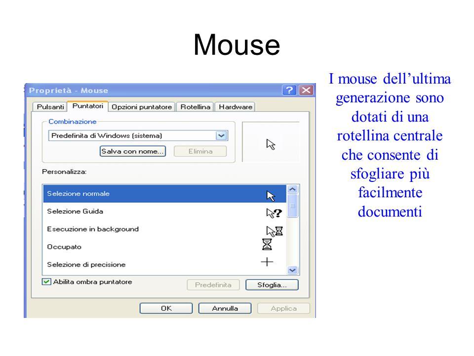 Mouse I mouse dell'ultima generazione sono dotati di una rotellina centrale che consente di sfogliare più facilmente documenti.