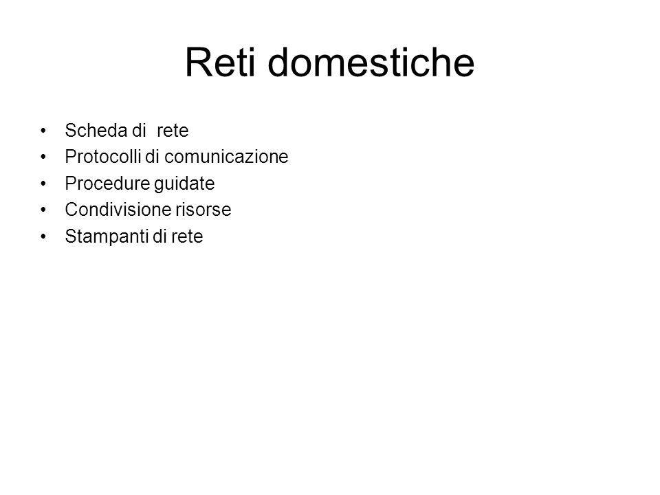 Reti domestiche Scheda di rete Protocolli di comunicazione