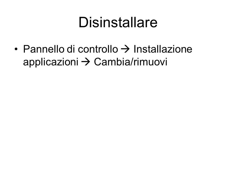 Disinstallare Pannello di controllo  Installazione applicazioni  Cambia/rimuovi
