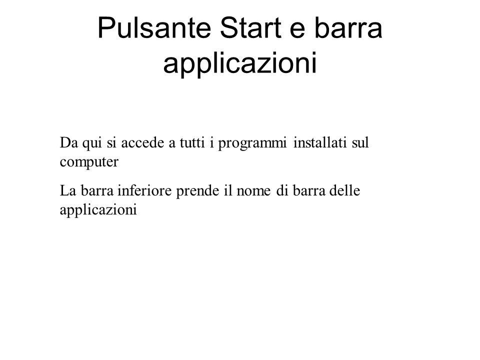 Pulsante Start e barra applicazioni
