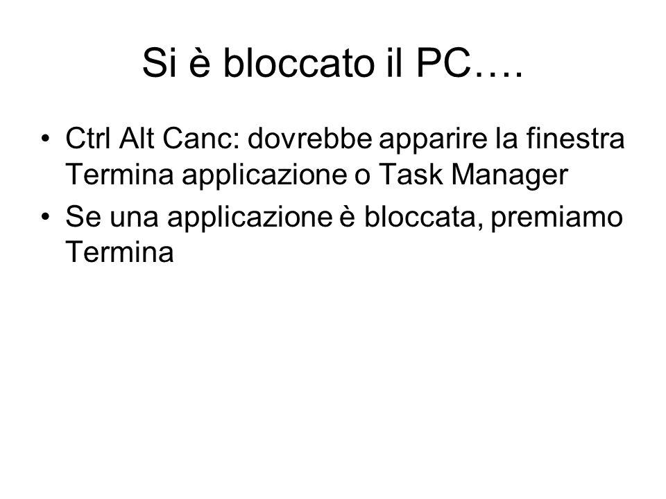 Si è bloccato il PC…. Ctrl Alt Canc: dovrebbe apparire la finestra Termina applicazione o Task Manager.