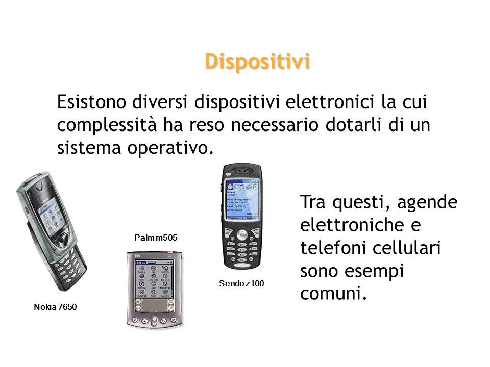 Dispositivi Esistono diversi dispositivi elettronici la cui complessità ha reso necessario dotarli di un sistema operativo.