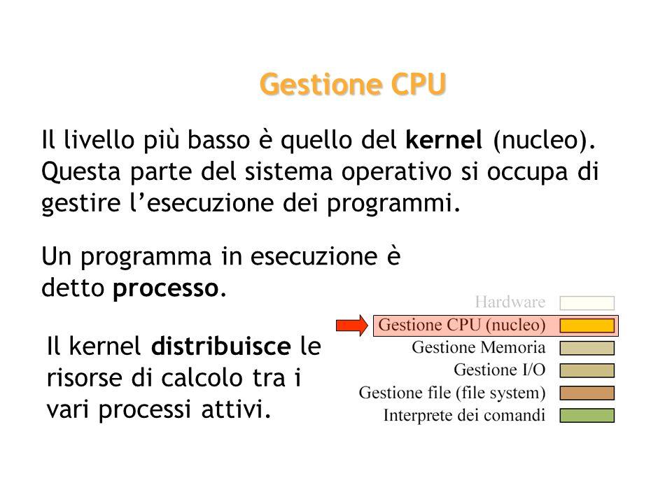 Gestione CPU Il livello più basso è quello del kernel (nucleo). Questa parte del sistema operativo si occupa di gestire l'esecuzione dei programmi.