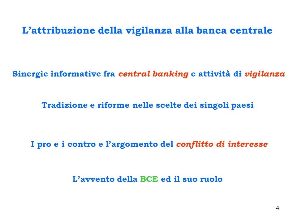 L'attribuzione della vigilanza alla banca centrale