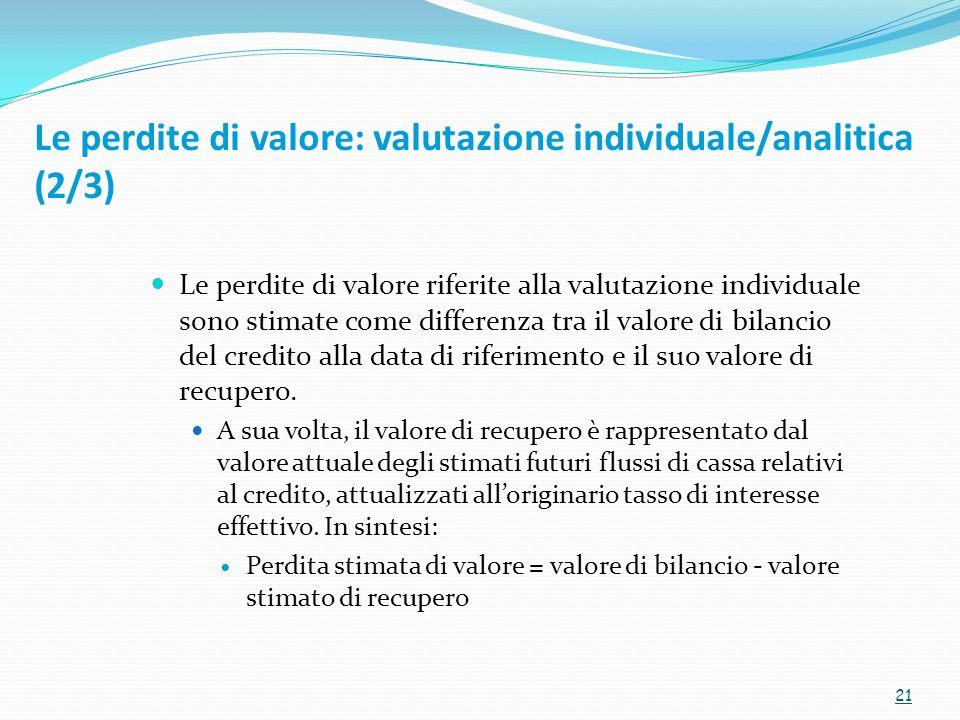 Le perdite di valore: valutazione individuale/analitica (2/3)
