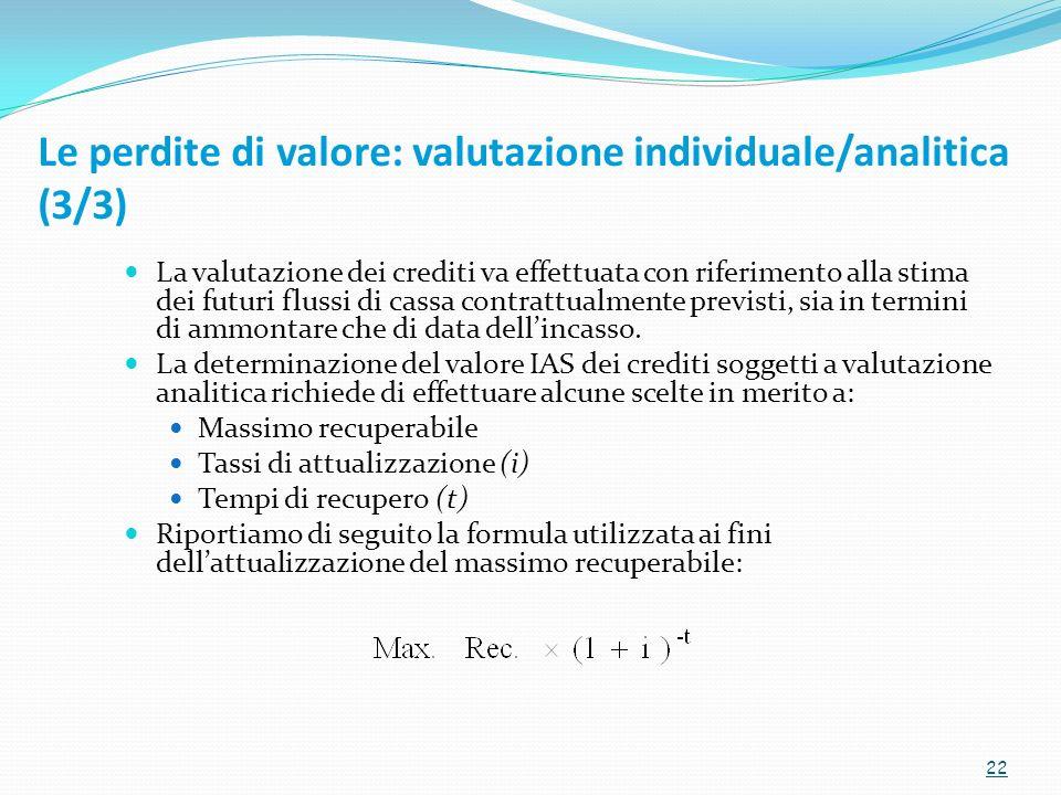 Le perdite di valore: valutazione individuale/analitica (3/3)