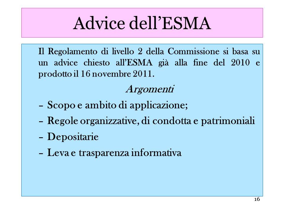Advice dell'ESMA Argomenti Scopo e ambito di applicazione;