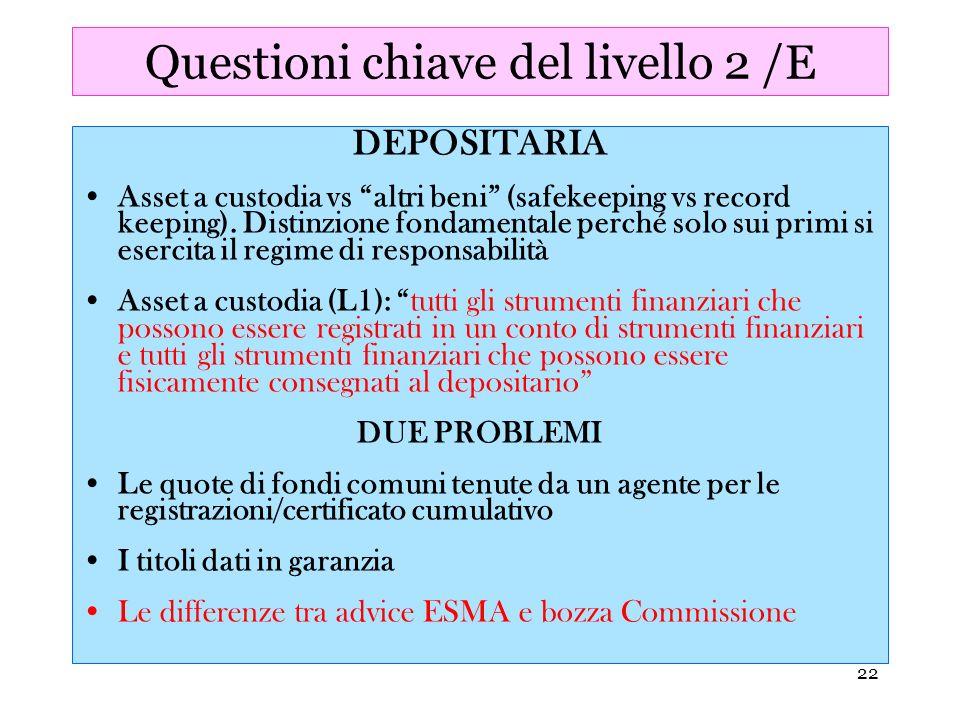 Questioni chiave del livello 2 /E