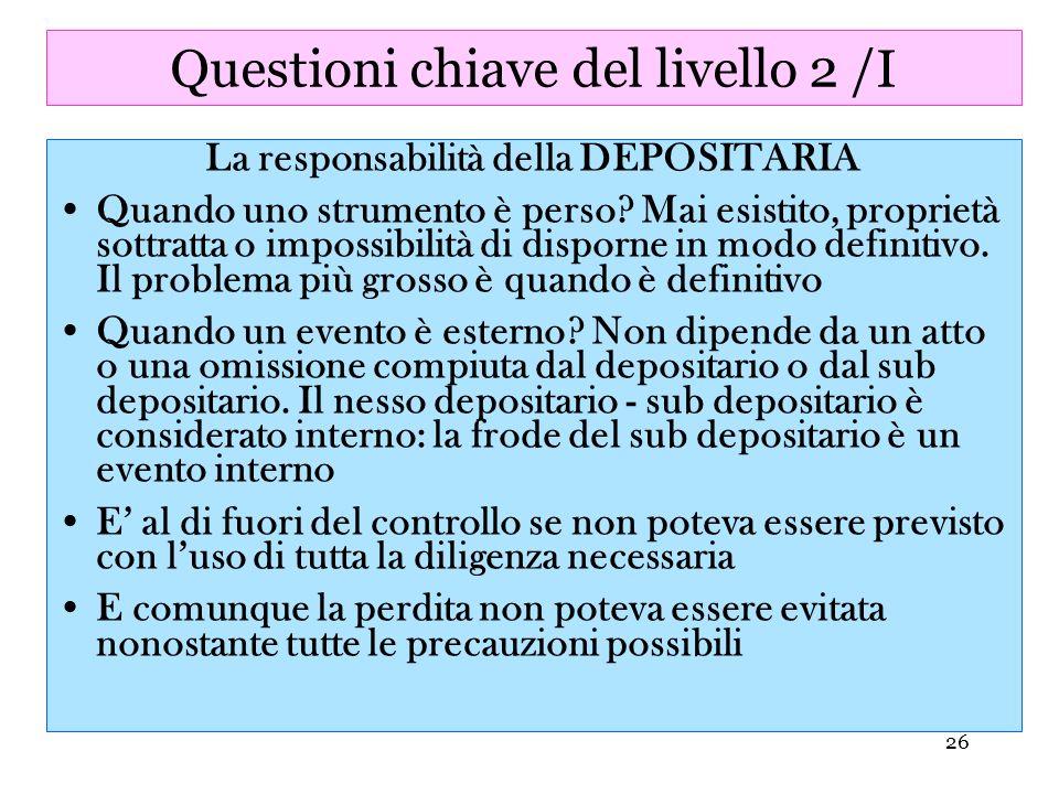 Questioni chiave del livello 2 /I