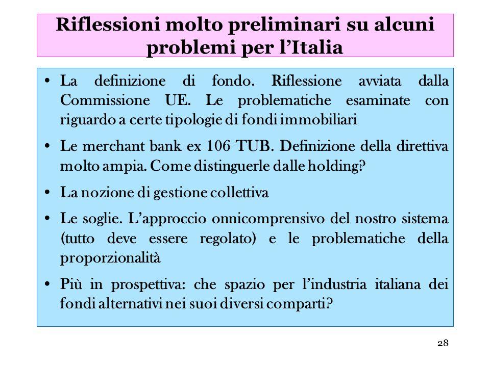 Riflessioni molto preliminari su alcuni problemi per l'Italia