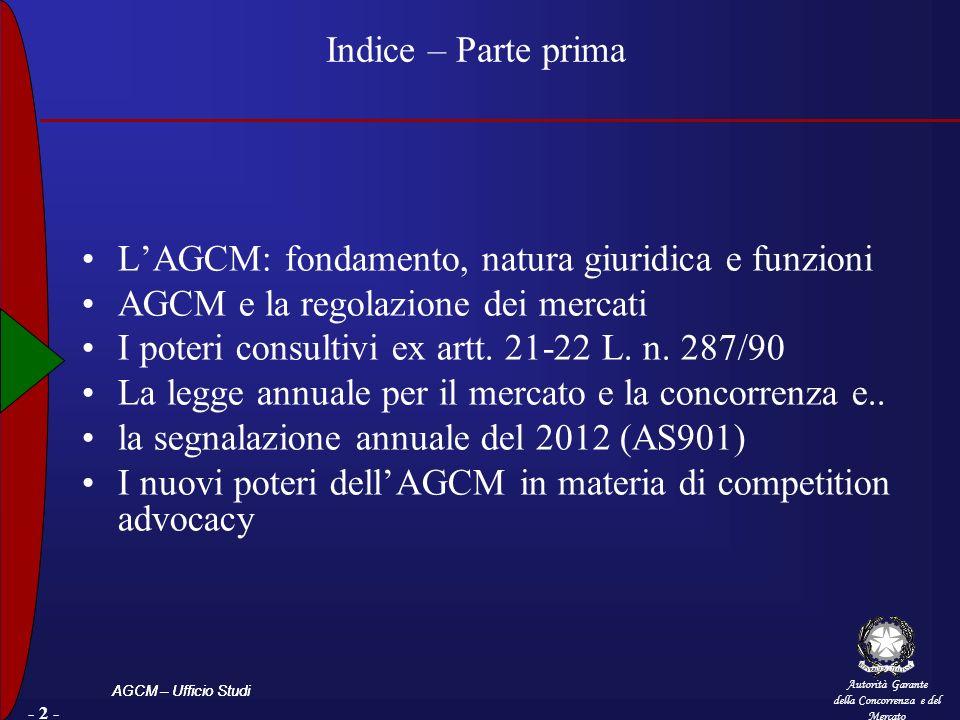 Indice – Parte prima L'AGCM: fondamento, natura giuridica e funzioni. AGCM e la regolazione dei mercati.