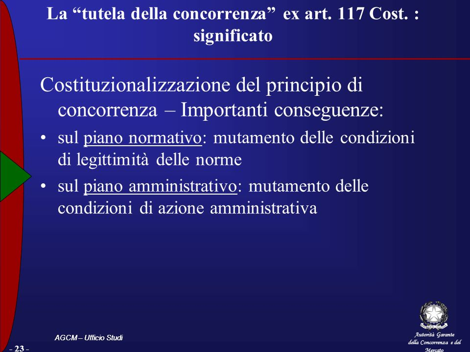 La tutela della concorrenza ex art. 117 Cost. : significato
