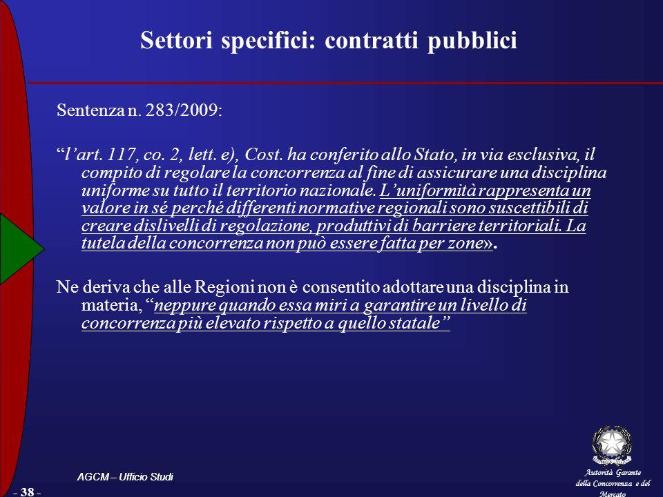 Settori specifici: contratti pubblici