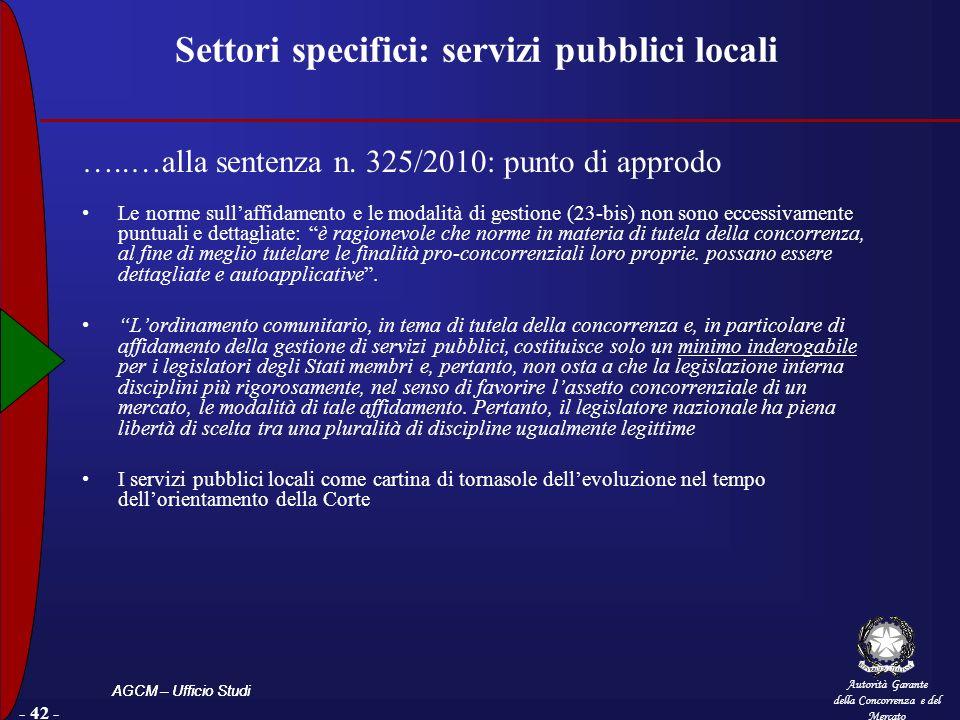 Settori specifici: servizi pubblici locali