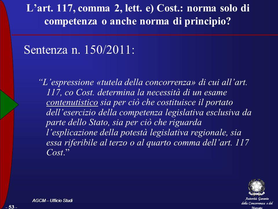 L'art. 117, comma 2, lett. e) Cost