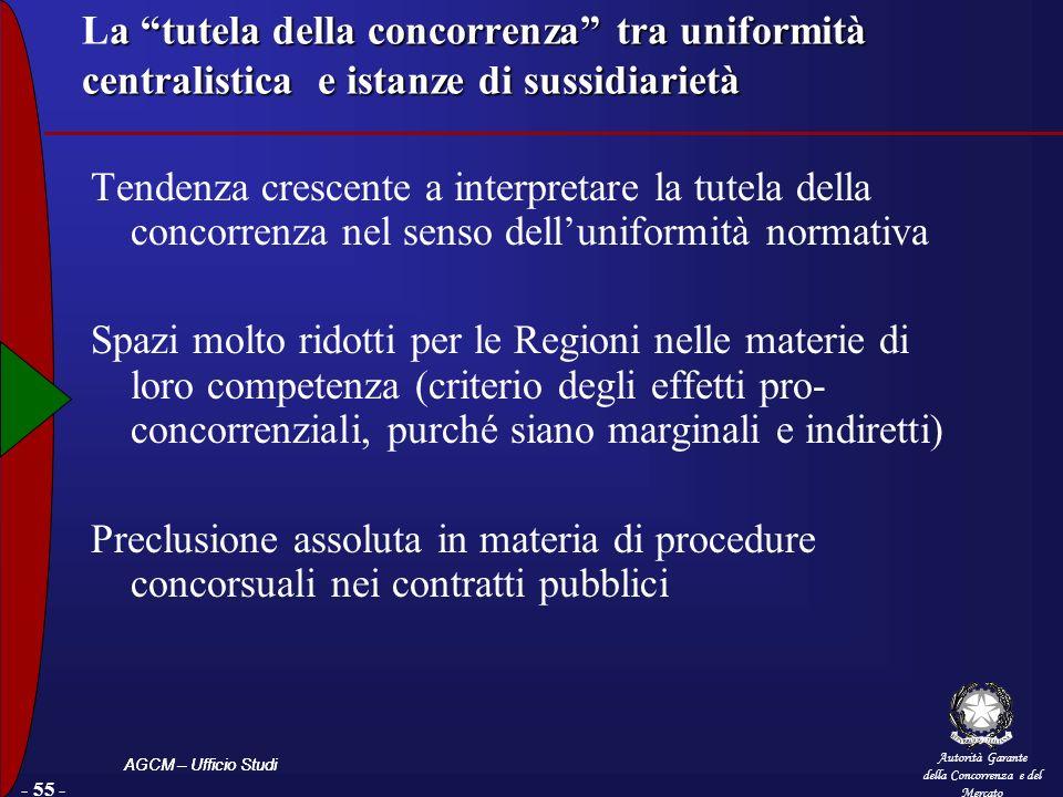 La tutela della concorrenza tra uniformità centralistica e istanze di sussidiarietà