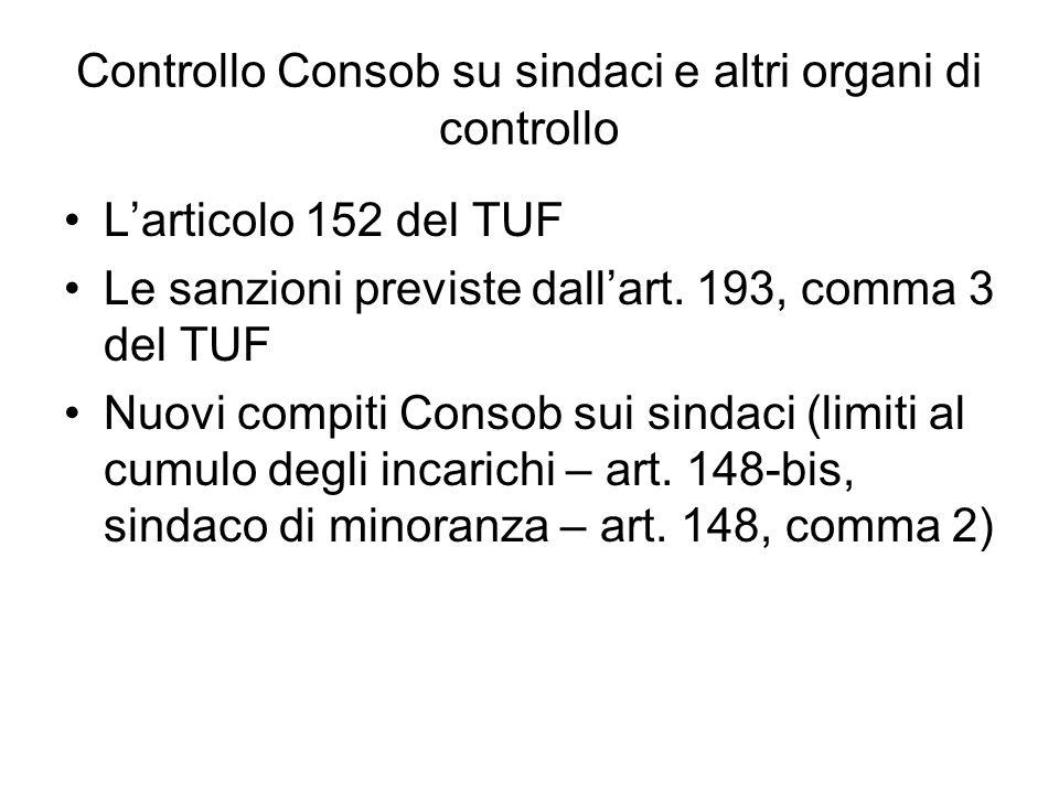 Controllo Consob su sindaci e altri organi di controllo