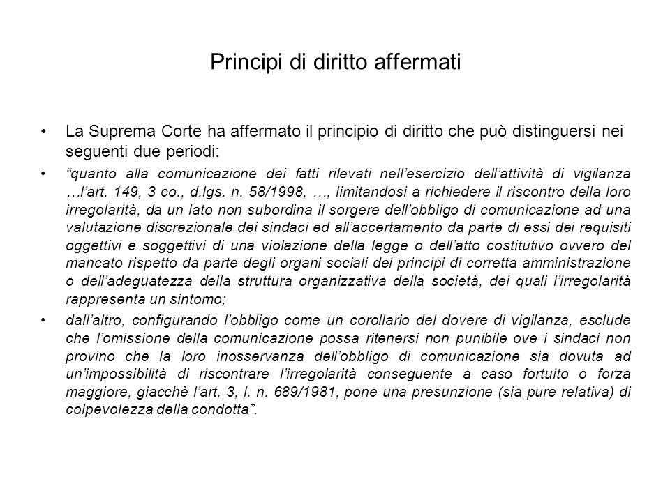 Principi di diritto affermati