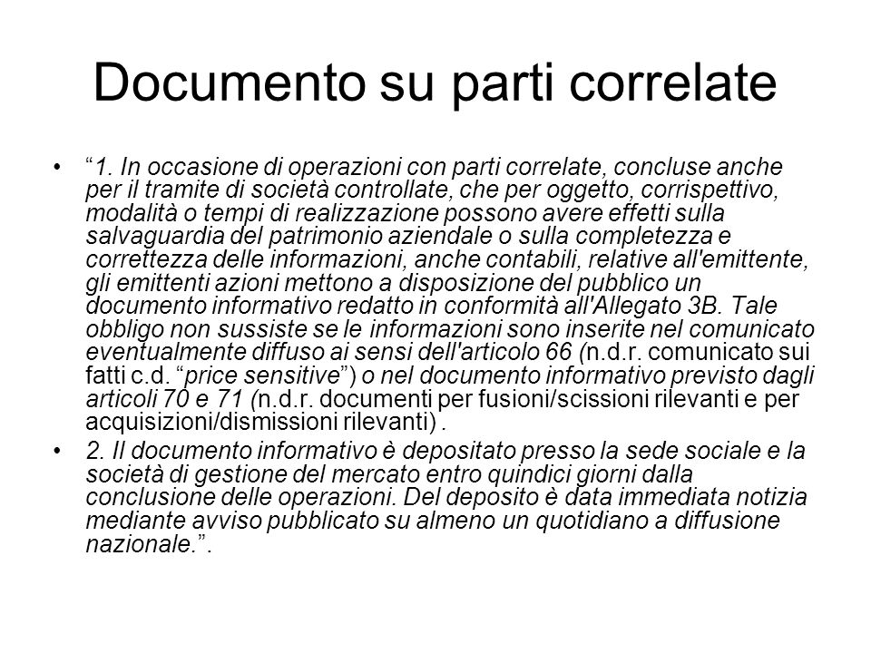 Documento su parti correlate
