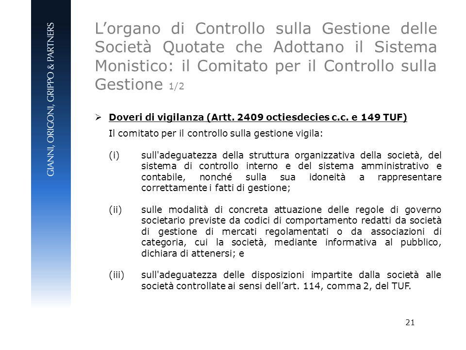 L'organo di Controllo sulla Gestione delle Società Quotate che Adottano il Sistema Monistico: il Comitato per il Controllo sulla Gestione 1/2