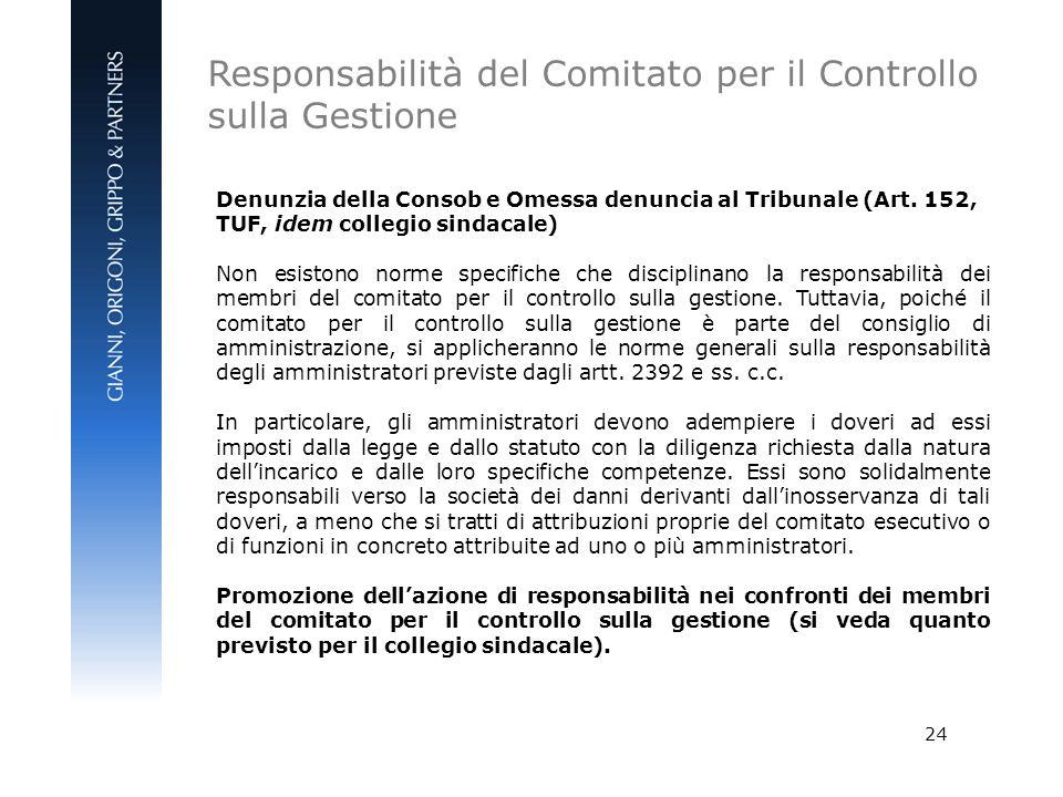Responsabilità del Comitato per il Controllo sulla Gestione