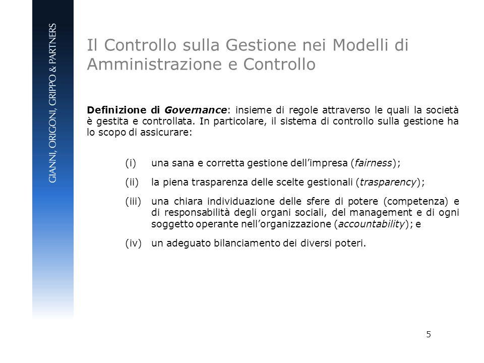 Il Controllo sulla Gestione nei Modelli di Amministrazione e Controllo