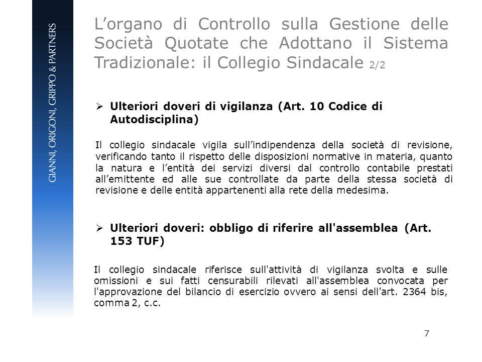 L'organo di Controllo sulla Gestione delle Società Quotate che Adottano il Sistema Tradizionale: il Collegio Sindacale 2/2