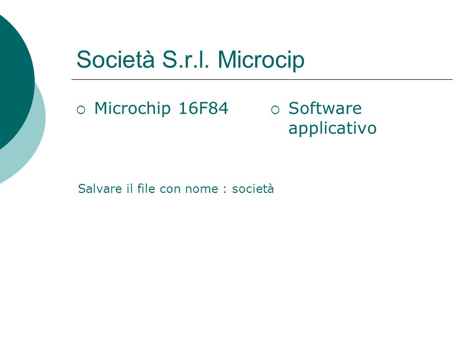 Società S.r.l. Microcip Microchip 16F84 Software applicativo