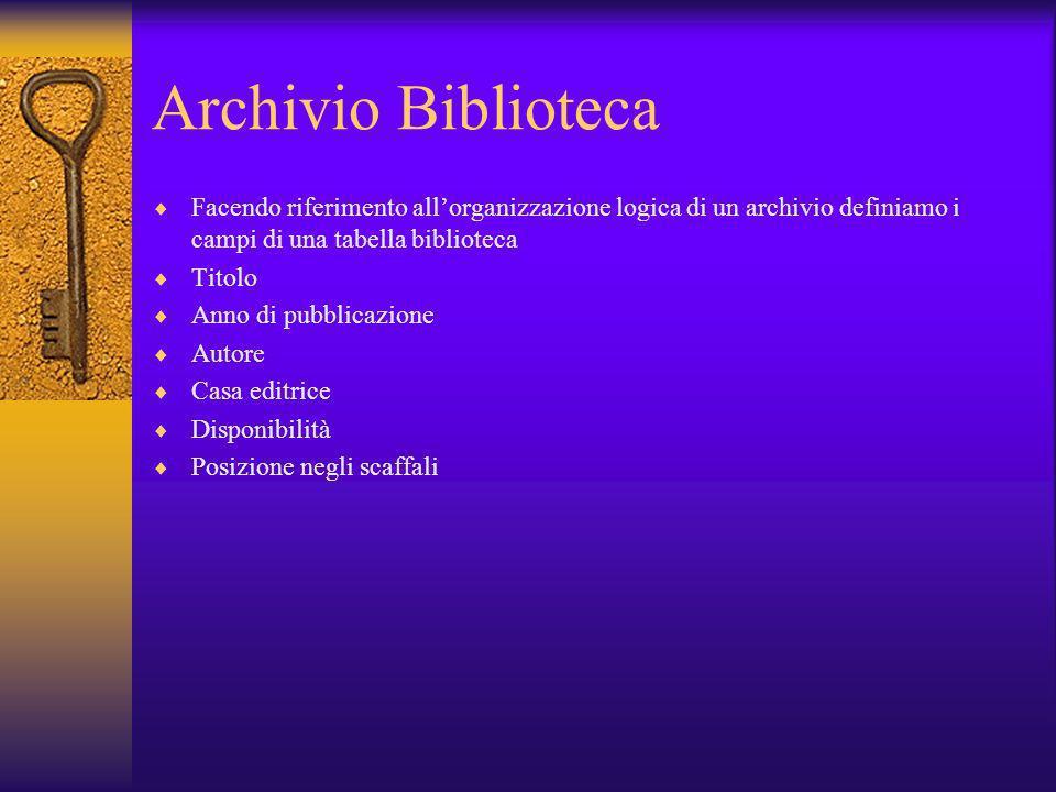 Archivio Biblioteca Facendo riferimento all'organizzazione logica di un archivio definiamo i campi di una tabella biblioteca.