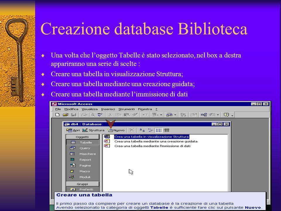 Creazione database Biblioteca
