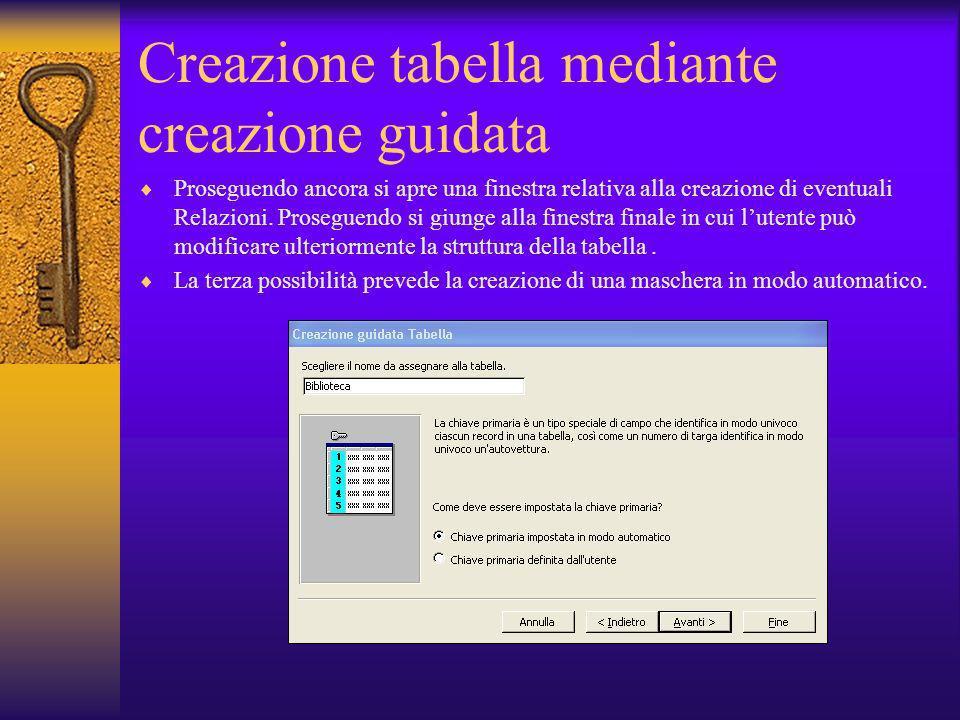 Creazione tabella mediante creazione guidata