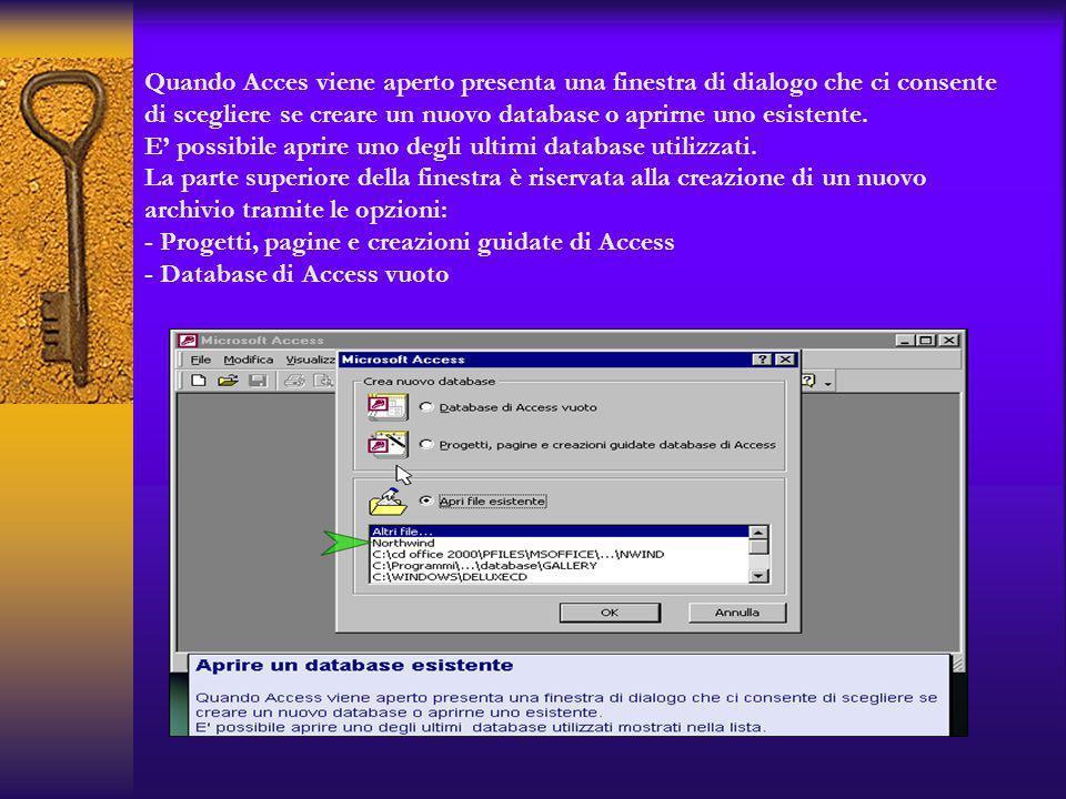 Quando Acces viene aperto presenta una finestra di dialogo che ci consente di scegliere se creare un nuovo database o aprirne uno esistente.