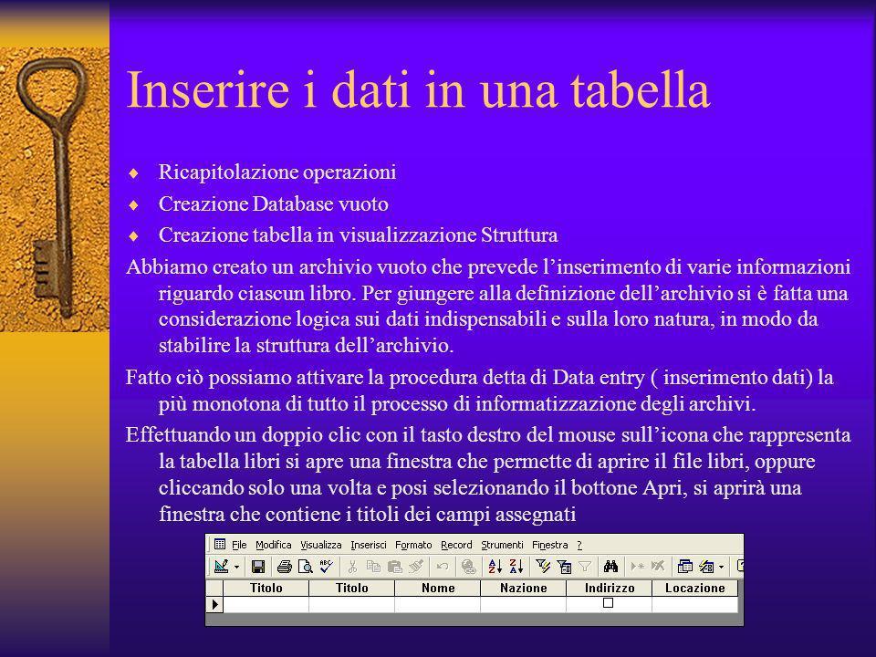Inserire i dati in una tabella